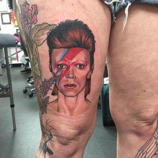 Bowie portrait tattoo by Dan Molloy. #DanMolloy #Bowie #colorrealism #DavidBowie #portrait #AlladinSane #ZiggyStardust