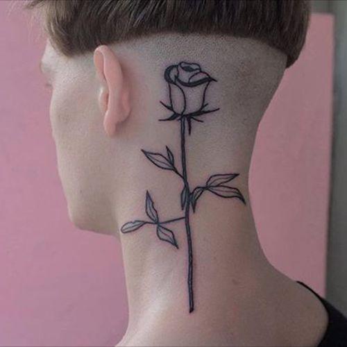 Flower neck. (via IG - _367_) #minimalistic #linework #simple #victorzabuga #flower