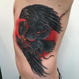 Raven Tattoo by Jake Danielson #raven #raventattoo #neotraditional #neotraditionaltattoo #neotraditionaltattoos #neotraditionalartist #JakeDanielson