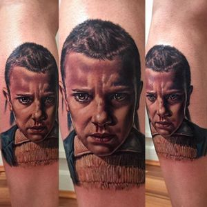Eleven from Stranger Things. Tattoo by Kristian Kimonides. #realism #portrait #colorrealism #Eleven #StrangerThings #KristianKimonides