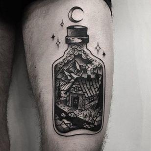 Cabin Tattoo by Jaffa Wane #cabin #cabintattoo #blackwork #blackworktattoo #blackworkartist #darkart #JaffaWane