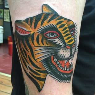 A Bert Grimm tiger head by Bailey Hunter Robinson (IG—baileyhrobinson). #BaileyHunterRobinson #BertGrimm #tattoohistory #tiger #traditional