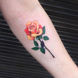 Rose via instagram zihee_tattoo #rose #flower #floral #watercolor #colorful #illustrative #zihee