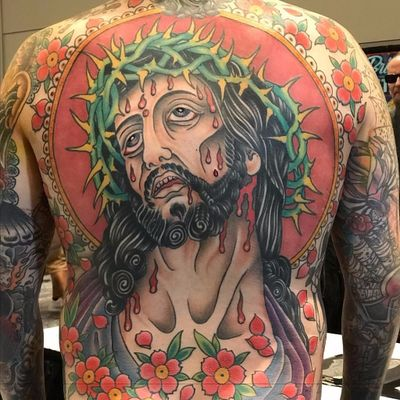 For the love of Christ by Matt Arriola #MattArriola #traditional #color #backpiece #religious #Jesus #JesusChrist #crownofthorns #crown #thorns #blood #tears #cherryblossoms #pattern #tattoooftheday