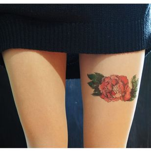 Watercolor Floral by TATUL (via etsy.com) #tattooedtights #painted #art #fashion #TATUL #temporarytattoos #tights #stockings