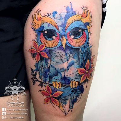#MayaraCompulsiva #tatuadorasdobrasil #aquarela #watercolor #coruja #owl
