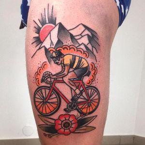 Bike tattoo by Szymon Knefel. #bike #fixie #biker #cyclist #biking #sport #traditional