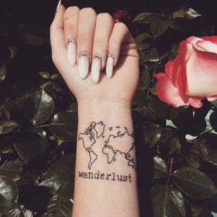 Wanderlust map tatttoo done at Silver Tattoo & Piercing Győr #wanderlust #traveller #traveling #worldmap #maptattoo #longnails #map