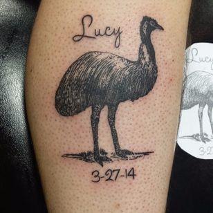Blackwork emu tattoo with a child's name and birthdate. Tattoo by Zach Strouse. #emu #Australia #Australiananimal #Australianfauna #blackwork #ZachStrouse
