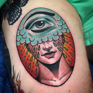 Third eye by Xam the Spaniard #XamtheSpaniard #color #newtraditional #thirdeye #rain #teardrop #face #portrait #eye #portrait #cloud #tattoooftheday