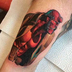 Hellboy tattoo by Andy Walker. #Hellboy #darkhorse #comics #graphicnovel #character #AndyWalker