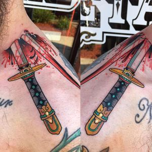 Sword Tattoo by Chad Lenjer #sword #swordtattoo #neotraditional #neotraditionaltattoo #neotraditionaltattoos #traditional #boldtattoos #moderntattoos #ChadLenjer