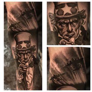 Blackwork Uncle Sam tattoo by Jay Quarles. #blackwork #blackandgrey #unclesam #JayQuarles