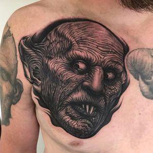 Nosferatu by Bob Tyrrell #BobTyrrell #blackandgrey #realism #realistic #hyperrealism #Nosferatu #vampire #movie #film #movietattoos #portrait #tattoooftheday