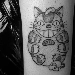 Cat bus tattoo by Jess Oxley #JessOxley #studioghiblitattoo #blackwork #linework #dotwork #newtraditional #anime #manga #movietattoo #Totoro #catbus #cat #kitty #mouse #mice #forestspirit #yokai