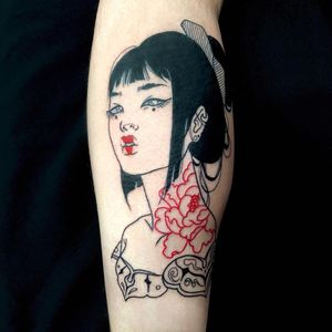 Lady Tattoo by Silly Jane #SillyJane #blackfill #linework #geisha #lady #portrait #Japanese #newtraditional #mashup #manga #graphic #peony #flowers #floral #pattern #hair