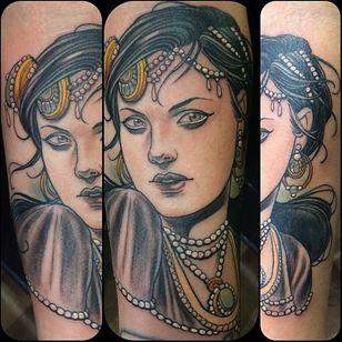 Great tattoo by Jurgen Eckel #JurgenEckel #neotraditional #lady
