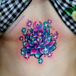Purple crystal lotus cluster tattoo by Laura Anunnaki, photo: Instagram #crystal #crystalcluster #purple #lotus #LauraAnunnaki