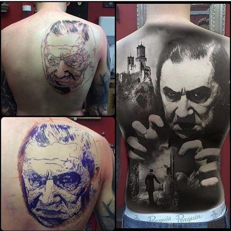 Lon Chaney as Dracula by Yarson (IG—yarson_tattoo). #blackandgrey #Dracula #monstermovies #portraiture #realism #Yarson