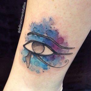 O famoso Olho de Horus de um jeito único #DellNascimento #olhodehorus #aquarela #HorusEye #watercolor #colorida #colorful #TatuadoresDoBrasil