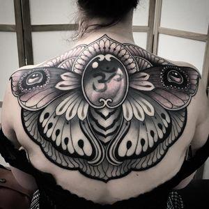 Backpiece tattoo by Vale Lovette #ValeLovette #blackandgrey #om #jewel #gem #pearls #wings #floral #butterflywings #backpiece #Buddhist #symbol #pattern #ornamental