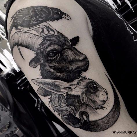 Blackwork totem animal tattoo by Ryan Murray. #RyanMurray #blackwork #dark #macabre #blackveilstudio #animals #totem #goat #rabbit #crow