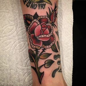 Traditional rose by Paul Dobleman on our own @chateau! #PaulDobleman #traditional #color #rose #tattoooftheday