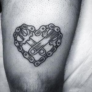Bike tattoo by Johnny Bear. #bike #fixie #biker #cyclist #biking #sport #linework
