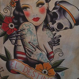 A piece of beautiful flash art by Howlin' Wolf (IG—howlinwolftattoo) that seems to say we're all destined to die. #flashart #Hispanic #ladyhead #HowlinWolf #sailor #skeleton #traditional