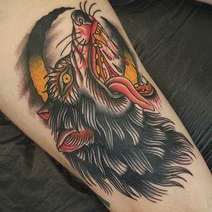 Wolf Tattoo by Jesper Jørgensen #wolf #wolftattoo #traditional #traditionaltattoo #oldschool #oldschooltattoo #darkart #darktraditional #JesperJorgensen