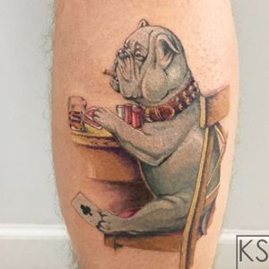 Poker playin pup tattoo by Kate SV #KateSV #cooltattoos #color #realism #realistic #painterly #bulldog #dog #poker #cards #gambling #chips #glass #whiskey #drink #clubs #game #play #smoking #tattoooftheday