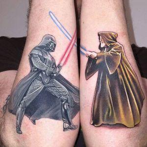 Star Wars tattoo via @davidcorden #DavidCorden #starwars #darthvader #obiewan