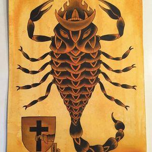 Awesome scorpion illustration. Tattoo design by Chris O'Donnell. #ChrisODonnell #TraditionalJapanese #KingsAvenueTattoo #NewYorkTattooer #oriental #easternculture #scorpion #asianart
