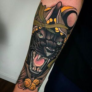 Gnarly looking panther tattoo. #DidacGonzalez #neotraditional #panther #animalhead #pantherhead