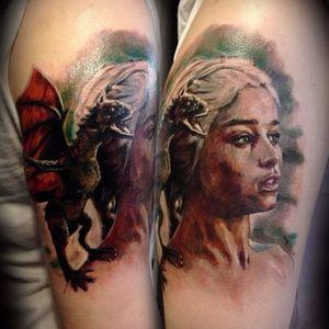 Daenerys Targaryen tattoo by Vlad Tokmenin #daenerys #targaryen #daenerystargaryen #gameofthrones #GOT #khaleesi #dragon #colorrealism
