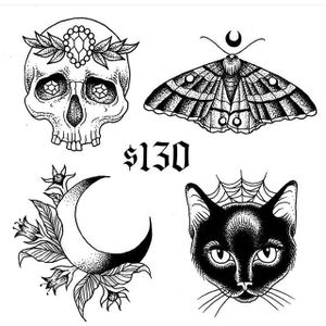 Flash art by Dana Glover for Friday the 13th at Gristle Tattoo (via IG-gristletattoo) #flash #nyc #FridayThe13th #GristleTattoo