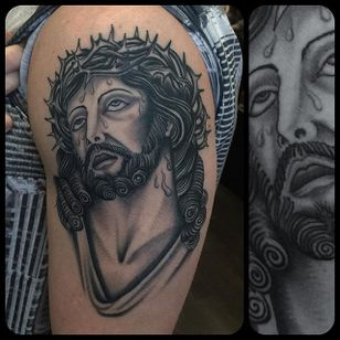 Black and Grey Jesus Tattoo by Nick Mayes #blackandgrey #Jesus #BlackandGreyJesus #Religious #Christ #NickMayes