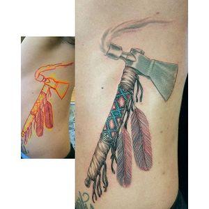 Peace Pipe Tattoo by @iwilltattoo #peacepipe #pipe #smoke #axe #NativeAmericaTattoo #traditional