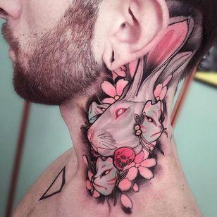 Neo-traditional albino rabbit tattoo by Brando Chiesa. #BrandoChiesa #neotraditional #albino #creature #animals #pastel #rabbit #bunny #japanese #mask #cherryblossom
