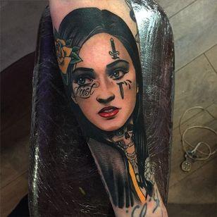 Neotraditional portrait tattoo by Dan Molloy. #DanMolloy #neotraditional #portrait #woman