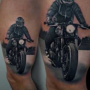 A slick black and grey portrait of a motorcyclist out for a drive James Artink (IG— james_artink). #blackand grey #JamesArink #realism