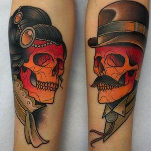 Lady and Gentleman Skull Tattoos by Kike Esteras @Kike.Esteras #KikeEsteras #Neotraditional #Neotraditionaltattoo #Barcelona #Skull #couple