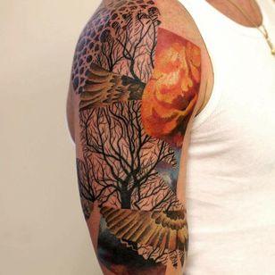 Tree Tattoo by Martynas Šnioka #tree #treetattoo #watercolor #watercolortattoo #abstract #abstracttattoo #graphic #graphictattoo #lithuanian #MartynasSnioka