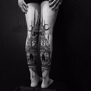 Mirrored towers and moons by Houston Patton #HoustonPatton #thievesoftower #castlebasas #castle #towers #moon #arrows #linework #blackwork #tattoooftheday