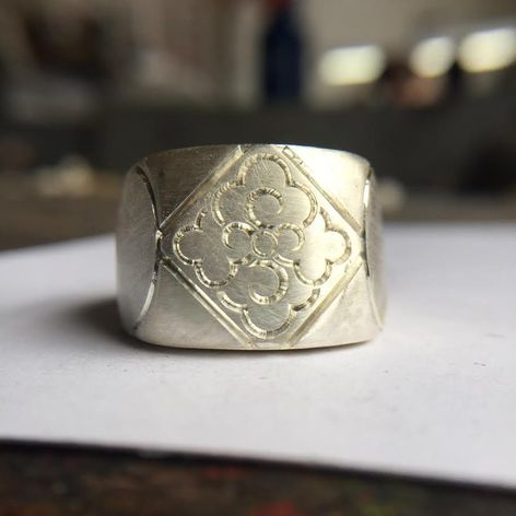 Larger signet prototype from the Digby & Iona x Slowerblack collaboration (photo via Aaron Ruff) #digbyandiona #slowerblack #JennaBouma #jewelry #tattooinspired
