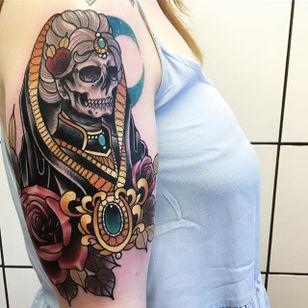 Skeleton Tattoo by Daryl Watson #skeleton #neotraditional #neotraditionalartist #contemporary #stylish #bold #DarylWatson