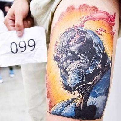 Primeiro lugar categoria Comics. Por Fernando Tampa! #TattooWeekRio #TattooWeekRio2017 #convenção #evento #comics #FernandoTampa #darkseid #DC #SuperMan #ligadajustiça