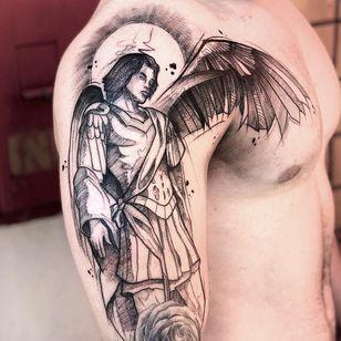 #JCTavares #brasil #brazil #brazilianartist #tatuadoresdobrasil #blackwork #pontilhismo #dotwork #sketch #anjo #angel #homem #man