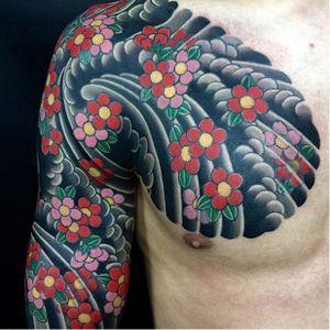 Cherry blossom half-sleeve by Horihide David Chu (IG—horihide_david). #cherryblossoms #dark #HorihideDavidChu #Irezumi #traditional