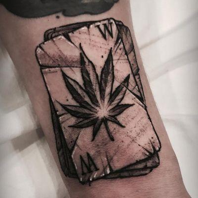 Weed in the Cards tattoo by Varo Tattooer #VaroTattooer #weedtattoos #blackandgrey #playingcards #neotraditional #darkart #illustrative #weedleaf #marijuana #stoner #cards #tattoooftheday